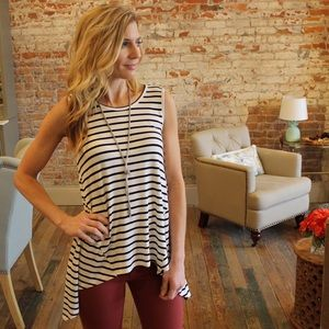 Tops - Ivory and black striped sleeveless trapeze top