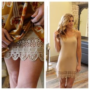 Dresses & Skirts - Taupe crochet hem extender slip