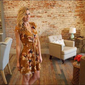 Dresses & Skirts - Mustard floral print surplice ribbed knit dress