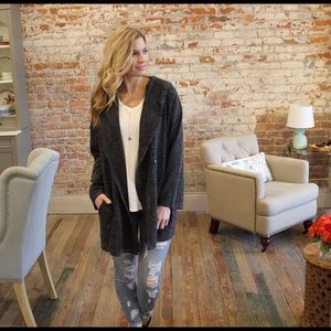 Jackets & Blazers - Charcoal two tone knit cardigan