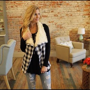 Jackets & Blazers - Black and ivory plaid flannel faux fur lined vest