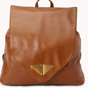 Handbags - Brown Modernist Faux Leather Backpack