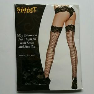 BLACK THIGH HIGH SM DIAMOND BACK SEAM LACE TOP NEW