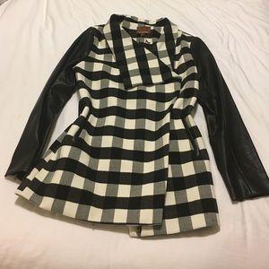 Hive & Honey Jackets & Blazers - Leather and black plaid coat