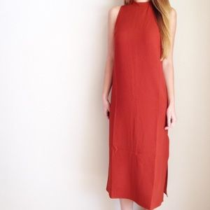 New burnt orange midi dress