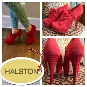 H by Halston Shoes - H BY HALSTON RED SUEDE PLATFORM ANKLE ZIP BOOTIES