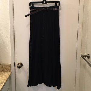 Maude Long Black Skirt with belt