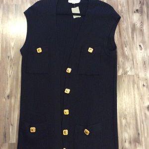 St. John L black sweater vest