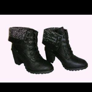 Cuffed high heeled booties