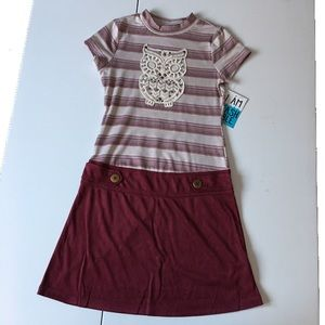 Other - BRAND NEW Girl's Sueded Owl Dress Stripes