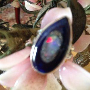 Vintage 925 Ethiopian opal in sodalite ring
