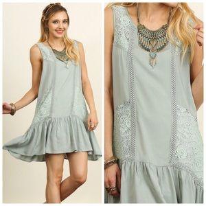 Boutique Dresses & Skirts - Boho Dusty Mint Lace Tunic Dress S M L