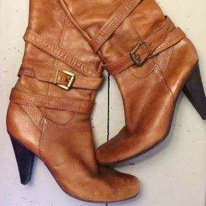 BCBGirls Shoes - Size 8 BCBGgirls leather stacked heel boots
