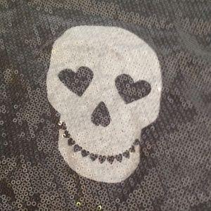 Hard Candy Tops - Happy skull gray sequence sweatshirt L (11-13)