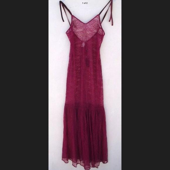 8bce84eb37d For Love   Lemons red sheer lace maxi slip dress S