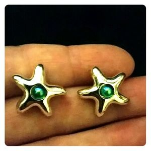 *Silver & Blue Starfish Earrings*