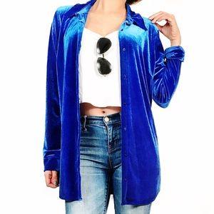 Vintage velvet blue cardigan