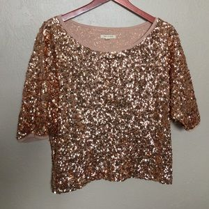 Tea N Rose - Rose gold Sequin Top - Sz: M