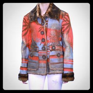 Custo Barcelona Jackets & Blazers - Custo Barcelona Fur Palm Coat Jacket - Size 6