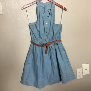 Lightweight Denim Racer-back Dress w/ belt - Sz: L