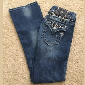 Miss me distressed bling bootcut jeans Sz 27