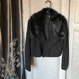 Black wool ,faux fur collar Moro jacket