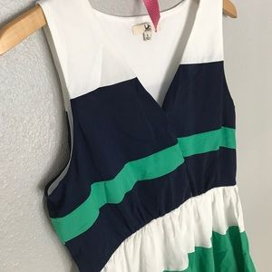 Blue and green striped dress