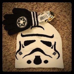 Star Wars Storm Trooper knit hat & glove set