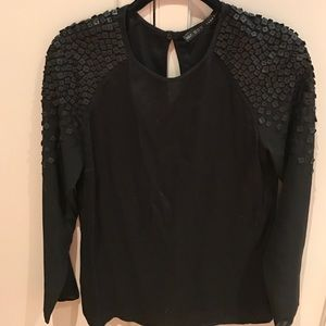 Zara Tops - Black tunic with faux leather squares on sleeves