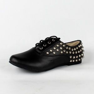 Shoes - Faux leather stud lace up loafers (Nikki-03 Black)