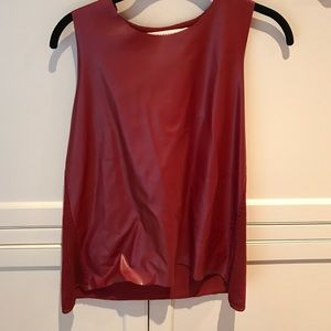 Zara knit top red with faux leather in front.