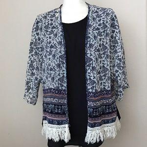 Xhilaration Tops - Crochet Edge Kimono XS/S