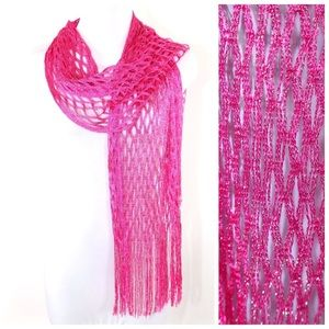 Accessories - Pink Fuchsia Metallic Open Weave Formal Scarf B4