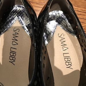 Sam & Libby Shoes - Black patent black brogues
