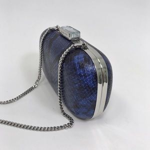 Authentic Michael Kors Blue Snakeskin Jewel Clutch