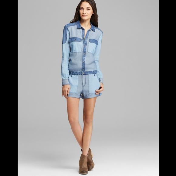 ce56dee7ea4c PAIGE Jackson Colorblock Jeans Romper Jumpsuit M. M 586ffc582ba50a1652014426