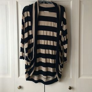 Summer Weight Striped Drape Front Cardigan