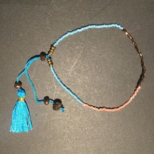 Jewelry - Blue and brown bohemian bracelet with tassel