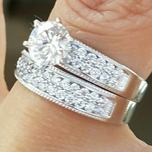 14k Solid Real white gold 2pc engagement ring sz 7