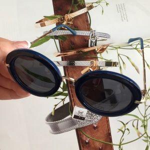 AJ Morgan Accessories - 🔵 AJ Morgan blue gold round sunglasses
