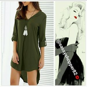 Tops - 'CASSIDY' SASSY OLIVE GREEN TOP/DRESS