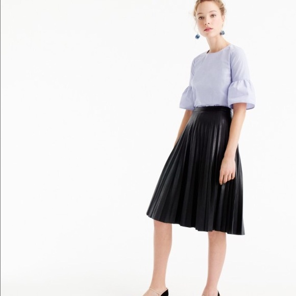 562b19c453f J. Crew Dresses   Skirts - Black j crew faux leather pleated midi skirt