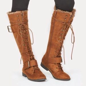 JustFab Shoes - Never Worn Knee High Lace Up Boots