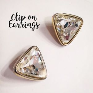 Jewelry - Gold Clip-on Crystal Earrings