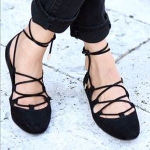 Zara Suede Lace-Up Flats