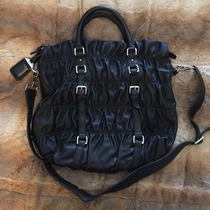 Prada Handbags - Auth PRADA Black Nappa Leather Gaufre bag purse