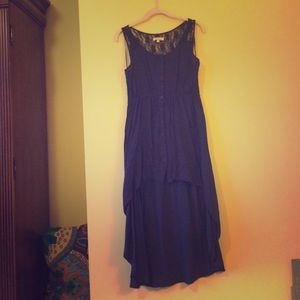 Navy high-low button up dress with lace