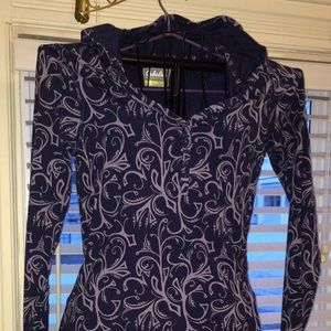 Hooded dress Navy blue print Cabelas Size Med