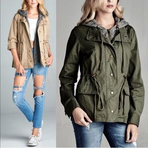TAMBERLYNN 3/4 sleeve utility jacket - OLIVE