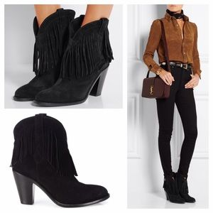 Saint Laurent Shoes - Saint Laurent New Western suede fringe boots